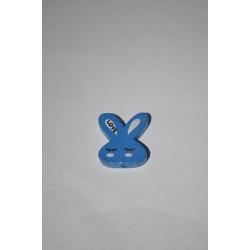 Mavi Tavşan Desenli Ahşap Ara Boncuk