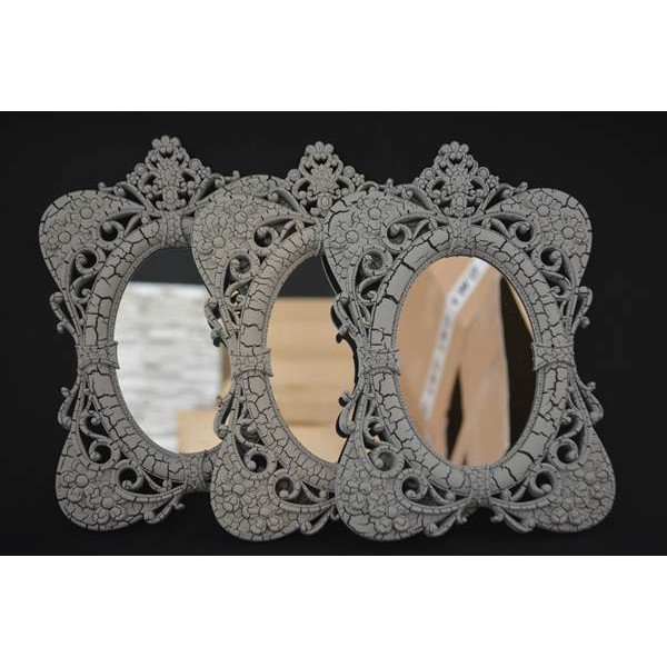 3'lü Çatlak Desenli Dekoratif Ayna