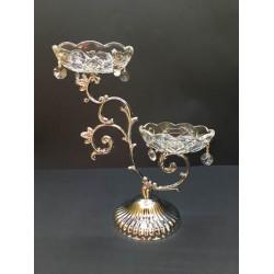 Gümüş Çift Başlıklı Kristal Şamdan