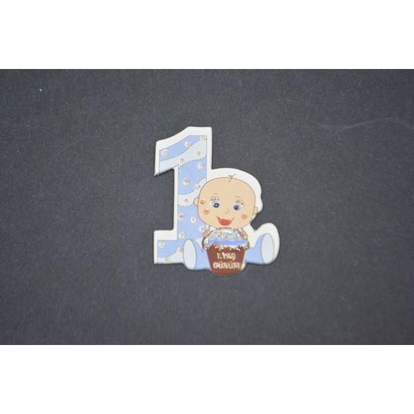 Mavi 1. Yaş Günüm Yazılı Stiker
