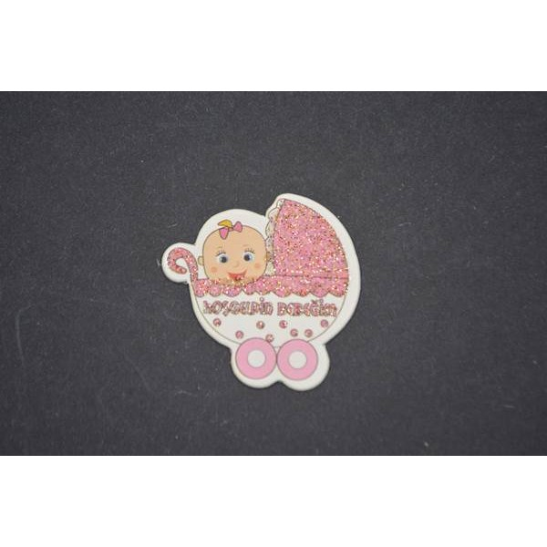 Pembe Puset Figürlü Stiker