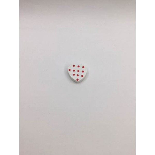 Beyaz Renk Kalp Desenli Ahşap Emzik Zinciri Boncuğu