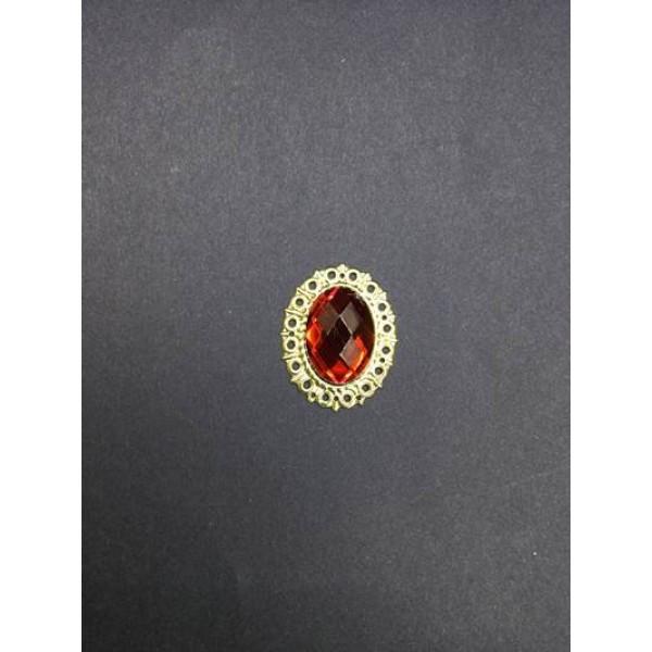 Kırmızı Kristal Taşlı Oval Broş