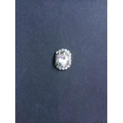 Kristal Taşlı Oval Broş