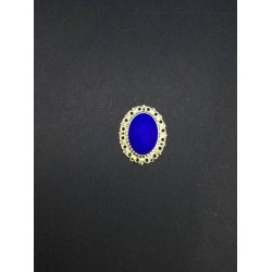 Lacivert Kristal Taşlı Oval Broş