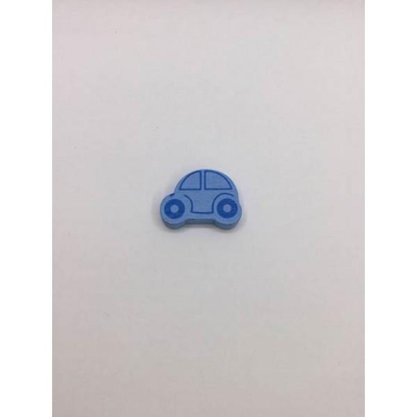 Mavi Araba Desenli Ahşap Emzik Zinciri Boncuğu