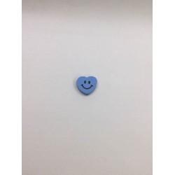 Mavi Gülücüklü Kalp Ahşap Emzik Zinciri Boncuğu