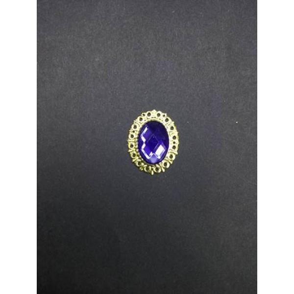 Mavi Kristal Taşlı Oval Broş