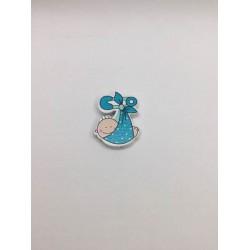 Mavi Renk Bebek Desenli Ahşap Emzik Klipsi Boncuğu