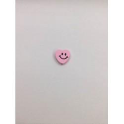 Pembe Renk Gülücüklü Kalp Ahşap Emzik Zinciri Boncuğu