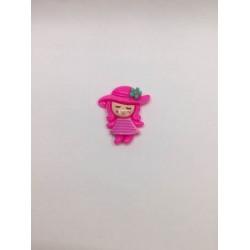 Pembe Şapkalı Kız Desenli Klips Boncuğu