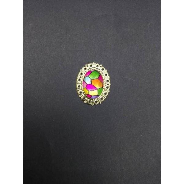 Renkli Kristal Taşlı Broş