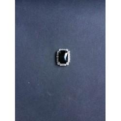 Siyah Kristal Taşlı Dikdörtgen Broş