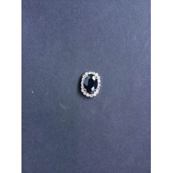 Siyah Kristal Taşlı Oval Broş