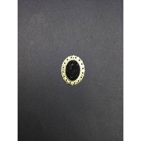 Siyah Parlak Taşlı Oval Broş