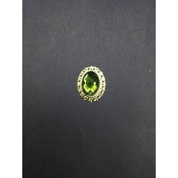 Yeşil Kristal Taşlı Oval Broş