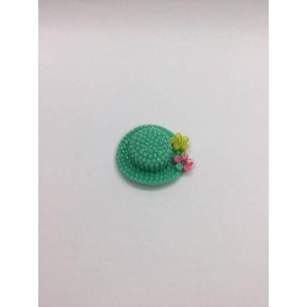 Yeşil Renk Şapka Desenli Klips Boncuğu