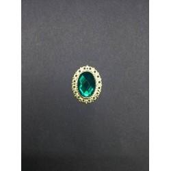 Zümrüt Yeşili Oval Broş
