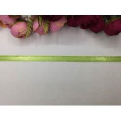 1 cm Altın Şeritli Açık Yeşil Saten Kurdela