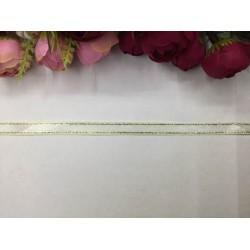 1 cm Altın Şeritli Krem Saten Kurdela