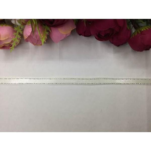 1 cm Gümüş Şeritli Krem Saten Kurdela