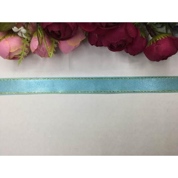 2 cm Altın Şeritli Açık Mavi Saten Kurdela