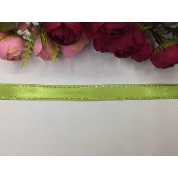 2 cm Altın Şeritli Açık Yeşil Saten Kurdela