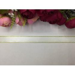 2 cm Altın Şeritli Beyaz Saten Kurdela