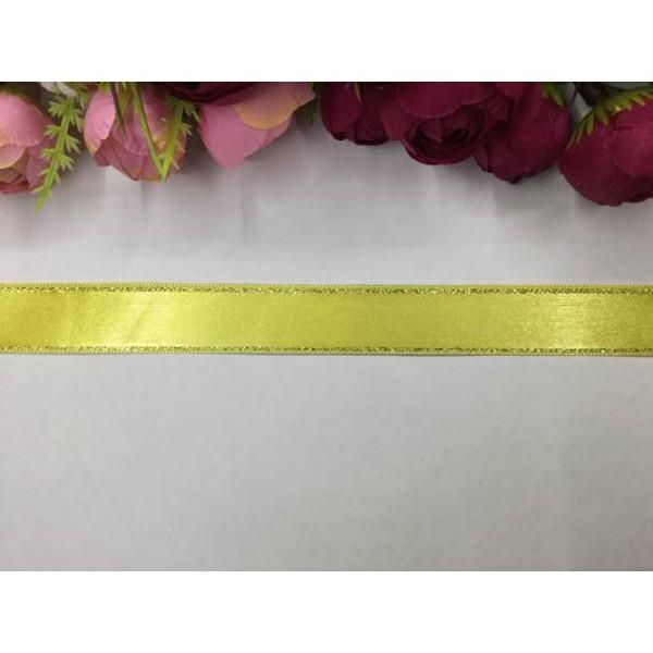 2 cm Altın Şeritli Sarı Saten Kurdela