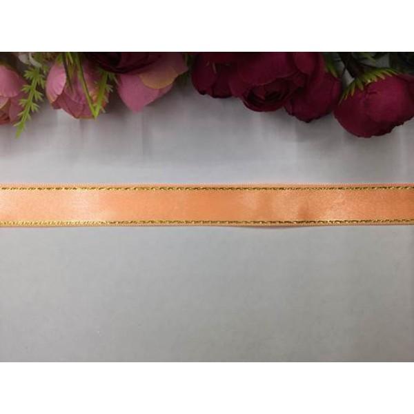 2 cm Altın Şeritli Somon Rengi Saten Kurdela