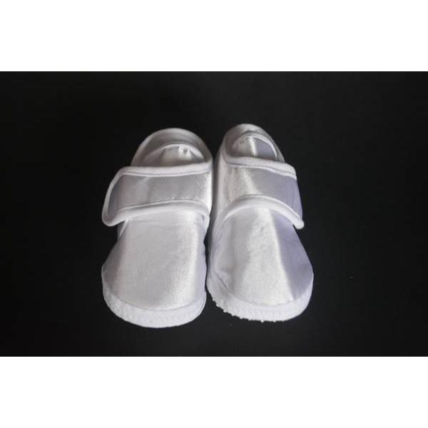 Beyaz Saten Erkek Bebek Ayakkabısı